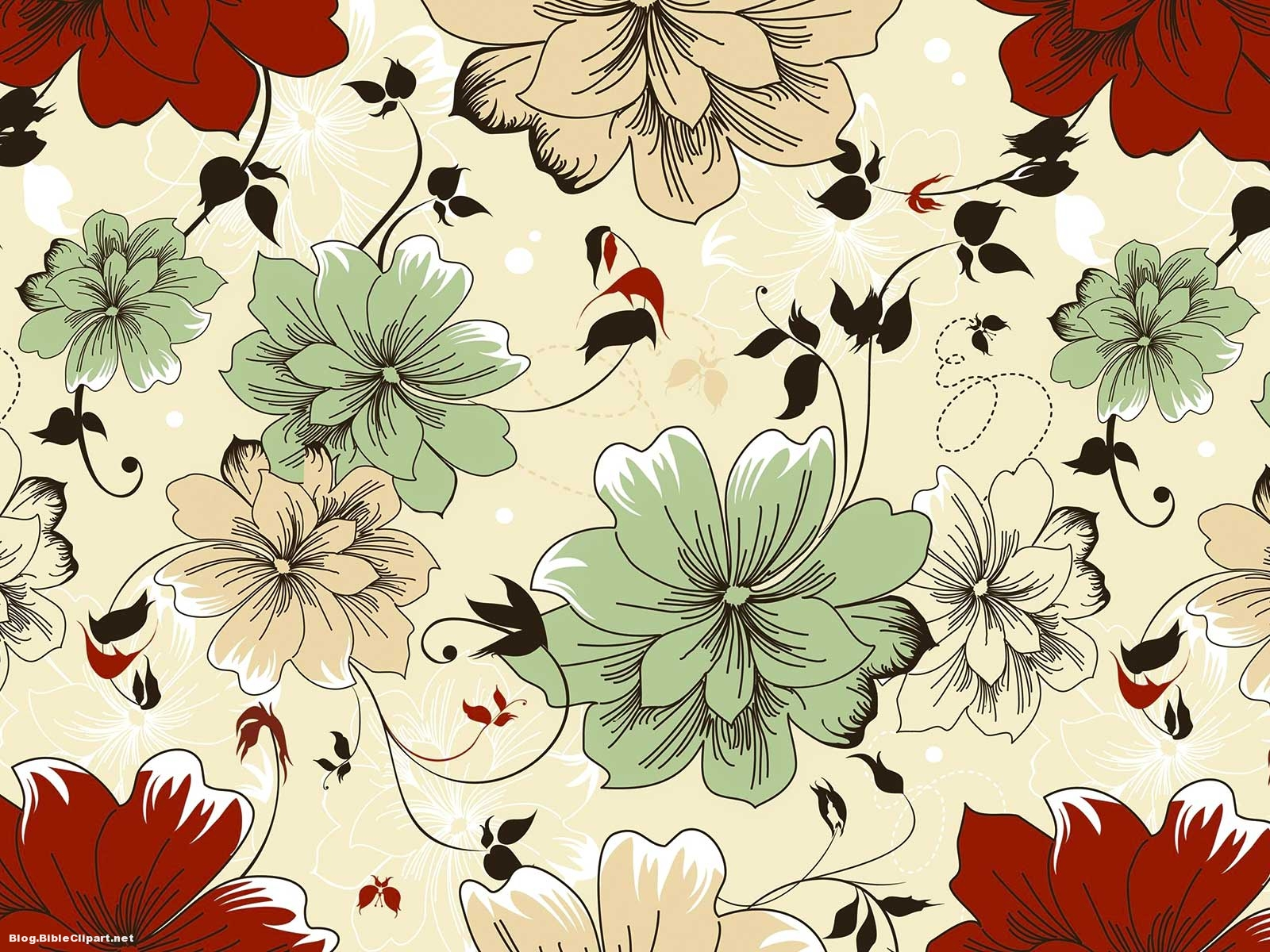 Batik Flower Pattern Background for Powerpoint