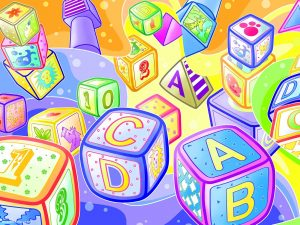 Colorful Alphabet Blocks for Kids Powerpoint Background