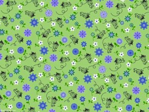 Flower And Bees Pattern Background